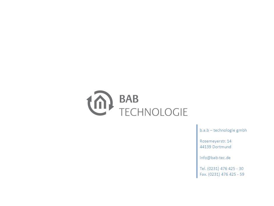 b.a.b – technologie gmbh Rosemeyerstr. 14 44139 Dortmund info@bab-tec.de Tel. (0231) 476 425 - 30 Fax. (0231) 476 425 - 59