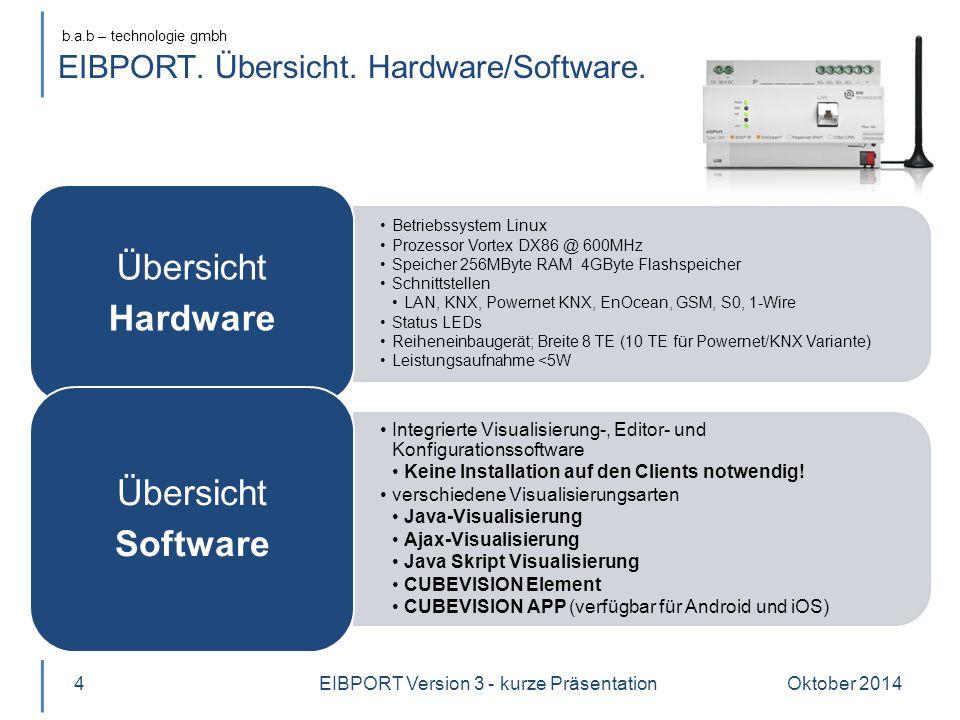 b.a.b – technologie gmbh EIBPORT. Übersicht. Hardware/Software. Betriebssystem Linux Prozessor Vortex DX86 @ 600MHz Speicher 256MByte RAM 4GByte Flash