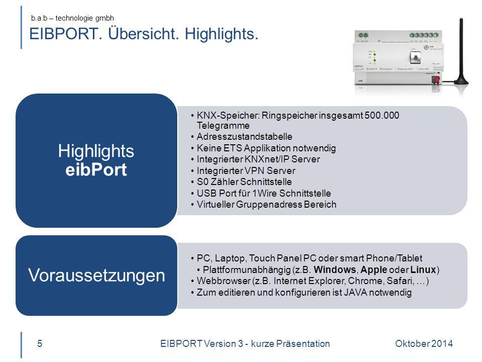b.a.b – technologie gmbh EIBPORT.Funktionsübersicht.