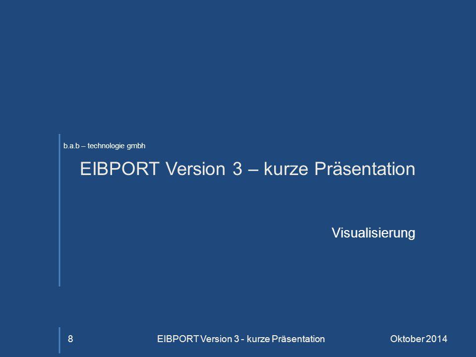 b.a.b – technologie gmbh EIBPORT Version 3 – kurze Präsentation Visualisierung Oktober 2014EIBPORT Version 3 - kurze Präsentation8