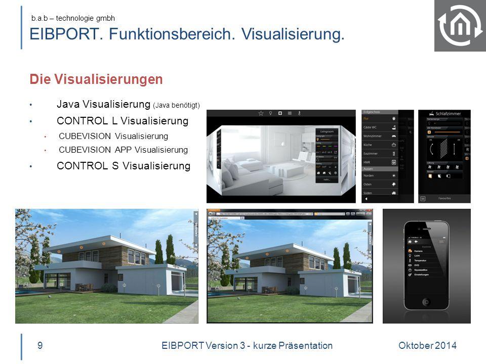 b.a.b – technologie gmbh EIBPORT. Funktionsbereich. Visualisierung. Die Visualisierungen Oktober 20149 Java Visualisierung (Java benötigt) CONTROL L V