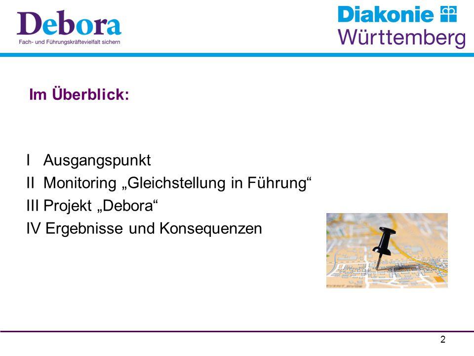 """Im Überblick: I Ausgangspunkt II Monitoring """"Gleichstellung in Führung"""" III Projekt """"Debora"""" IV Ergebnisse und Konsequenzen 2"""