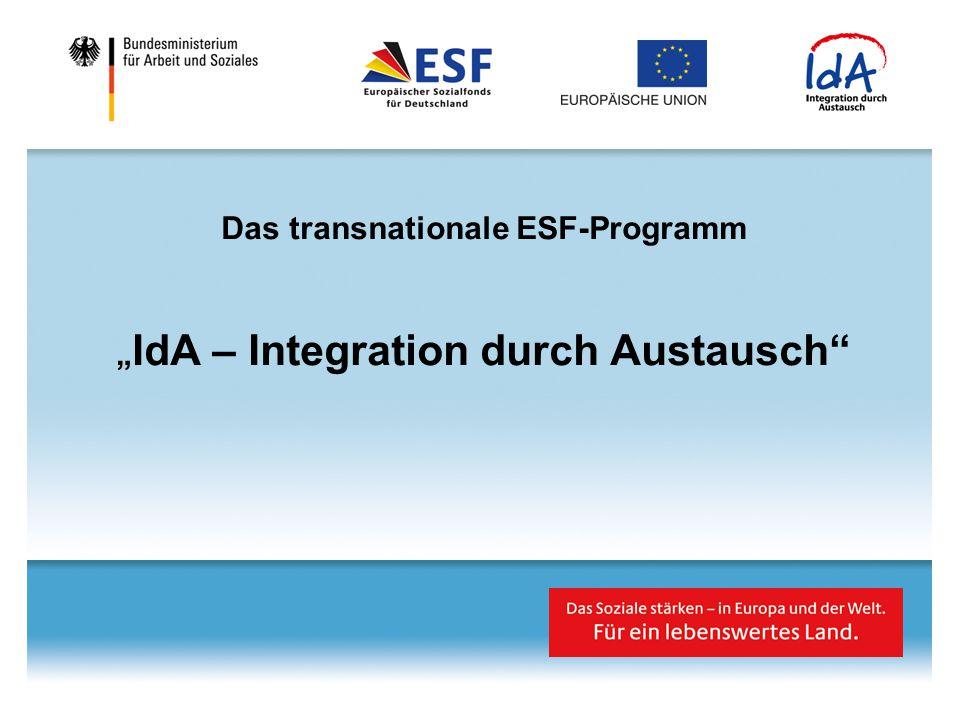 """Das transnationale ESF-Programm """" IdA – Integration durch Austausch"""