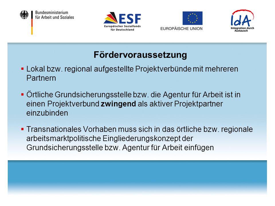 Fördervoraussetzung  Lokal bzw. regional aufgestellte Projektverbünde mit mehreren Partnern  Örtliche Grundsicherungsstelle bzw. die Agentur für Arb