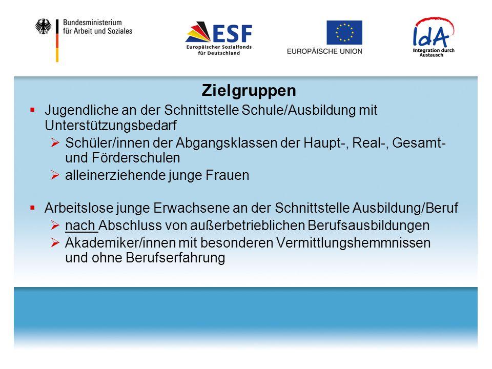 IdA – transnationale Maßnahme im ESF  Schwerpunkt transnationale Aktivitäten im ESF- Bundesprogramm:  transnationales gegenseitiges Lernen  Aufgreifen guter Beispiele aus anderen EU-Ländern  gemeinsamer transnationaler Erfahrungsaustausch