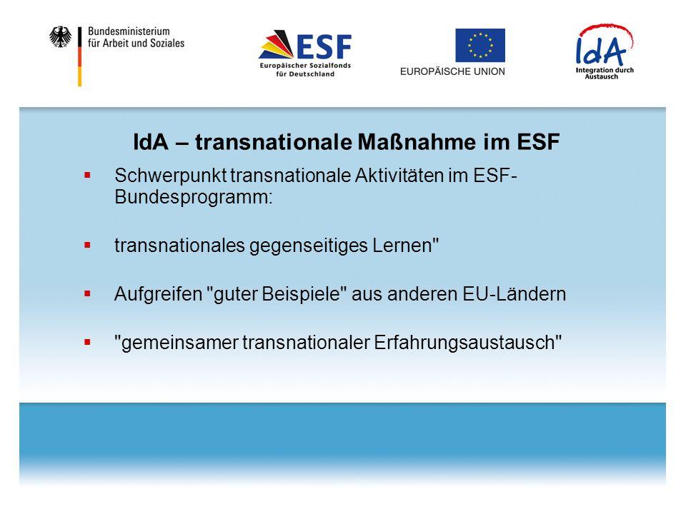 IdA – transnationale Maßnahme im ESF  Schwerpunkt transnationale Aktivitäten im ESF- Bundesprogramm:  transnationales gegenseitiges Lernen