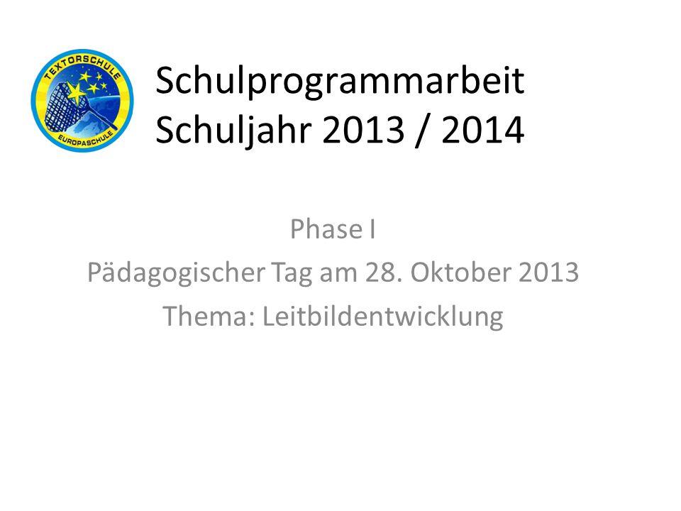 Schulprogrammarbeit Schuljahr 2013 / 2014 Phase II Klausurtagung der Steuergruppe am 4.11.2013 Thema: Schwerpunktsetzung der Leitbildsätze – Entwicklung eines Leitbildes aus den Ergebnissen der Gruppenarbeit des Päd.