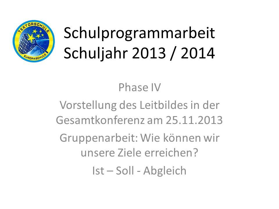 Schulprogrammarbeit Schuljahr 2013 / 2014 Phase IV Vorstellung des Leitbildes in der Gesamtkonferenz am 25.11.2013 Gruppenarbeit: Wie können wir unser