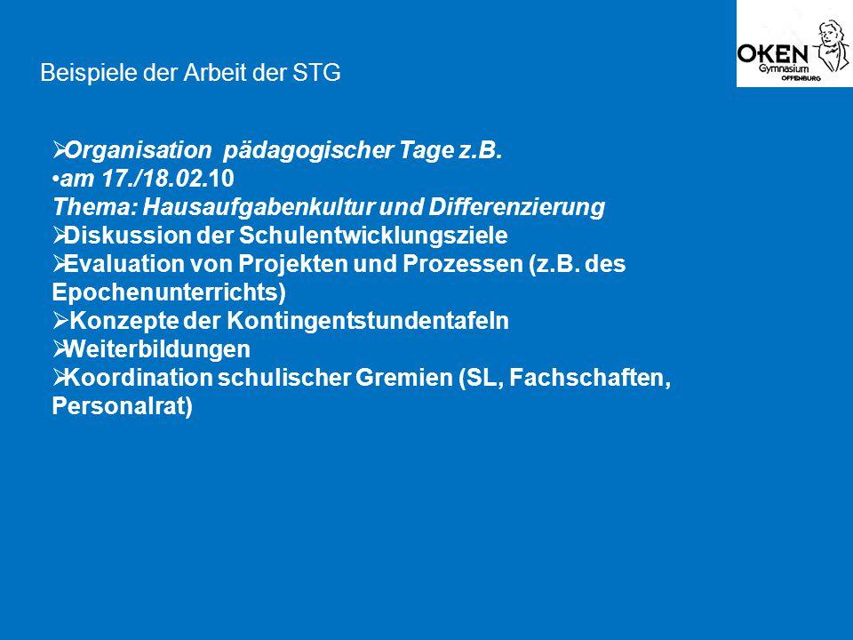 Beispiele der Arbeit der STG  Organisation pädagogischer Tage z.B. am 17./18.02.10 Thema: Hausaufgabenkultur und Differenzierung  Diskussion der Sch