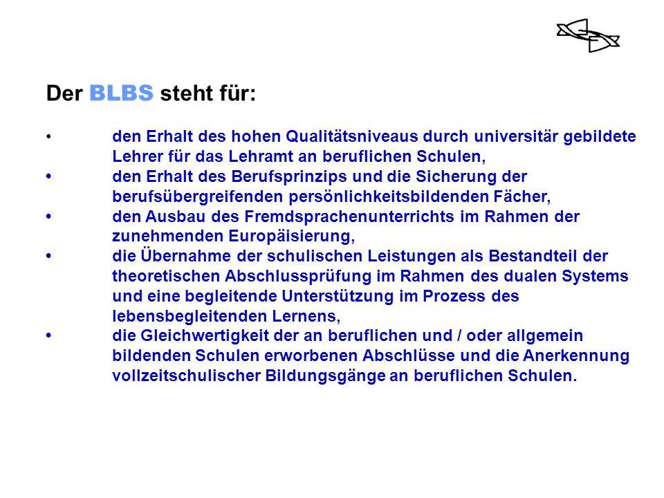 Der BLBS steht für: den Erhalt des hohen Qualitätsniveaus durch universitär gebildete Lehrer für das Lehramt an beruflichen Schulen, den Erhalt des Be