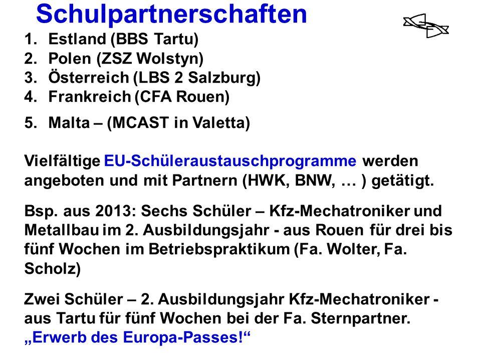 Schulpartnerschaften 1.Estland (BBS Tartu) 2.Polen (ZSZ Wolstyn) 3.Österreich (LBS 2 Salzburg) 4. Frankreich (CFA Rouen) 5.Malta – (MCAST in Valetta)