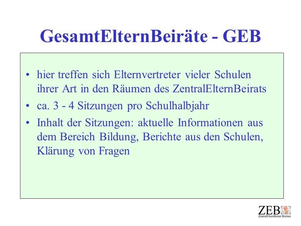 GesamtElternBeiräte - GEB hier treffen sich Elternvertreter vieler Schulen ihrer Art in den Räumen des ZentralElternBeirats ca. 3 - 4 Sitzungen pro Sc