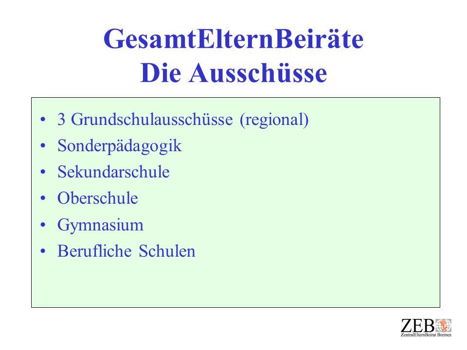 GesamtElternBeiräte Die Ausschüsse 3 Grundschulausschüsse (regional) Sonderpädagogik Sekundarschule Oberschule Gymnasium Berufliche Schulen