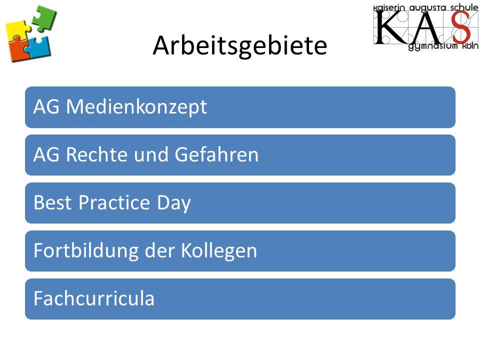 Arbeitsgebiete AG MedienkonzeptAG Rechte und GefahrenBest Practice DayFortbildung der KollegenFachcurricula