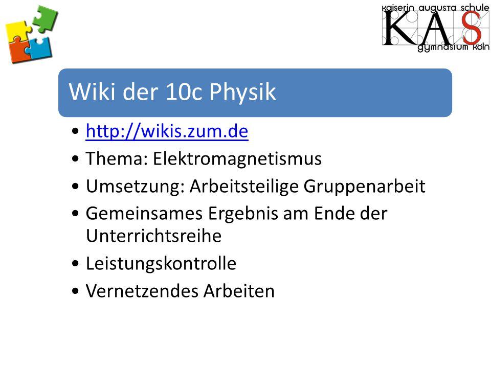 Wiki der 10c Physik http://wikis.zum.de Thema: Elektromagnetismus Umsetzung: Arbeitsteilige Gruppenarbeit Gemeinsames Ergebnis am Ende der Unterrichts