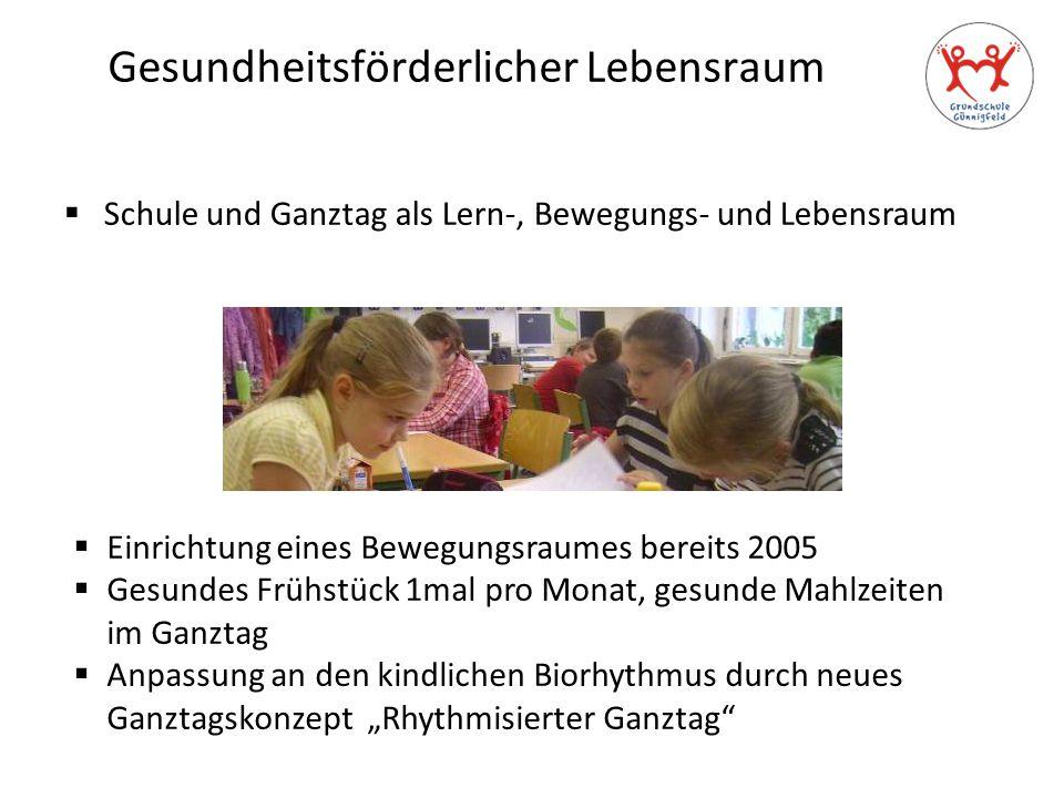 Gesundheitsförderlicher Lebensraum  Schule und Ganztag als Lern-, Bewegungs- und Lebensraum  Einrichtung eines Bewegungsraumes bereits 2005  Gesund