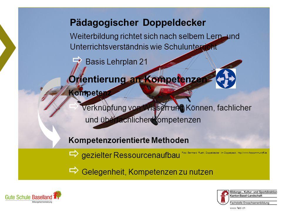 www.febl.ch Foto: Bernhard Ruehl, Doppeldecker im Doppelpack, http://www.fotocommunity.de Pädagogischer Doppeldecker Weiterbildung richtet sich nach s