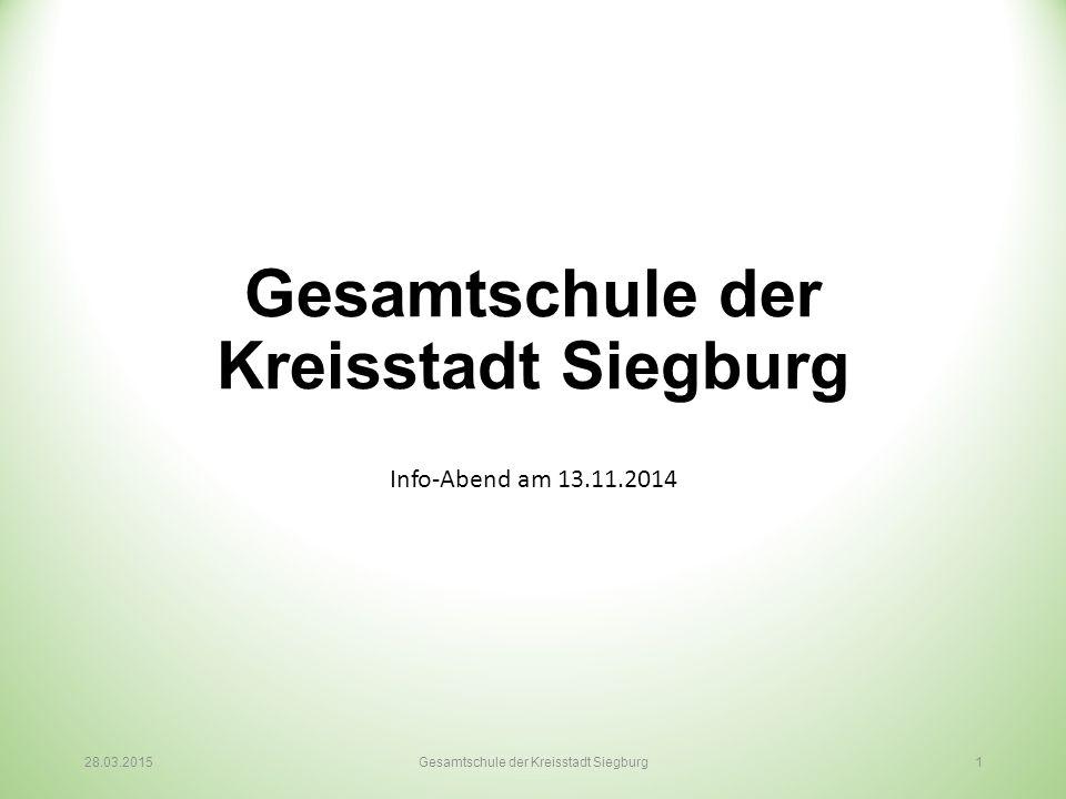 Gesamtschule der Kreisstadt Siegburg Info-Abend am 13.11.2014 28.03.2015Gesamtschule der Kreisstadt Siegburg 1