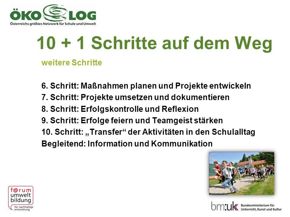 10 + 1 Schritte auf dem Weg weitere Schritte 6. Schritt: Maßnahmen planen und Projekte entwickeln 7. Schritt: Projekte umsetzen und dokumentieren 8. S