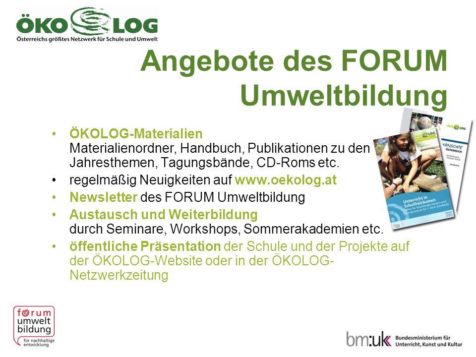 Angebote des FORUM Umweltbildung ÖKOLOG-Materialien Materialienordner, Handbuch, Publikationen zu den Jahresthemen, Tagungsbände, CD-Roms etc. regelmä