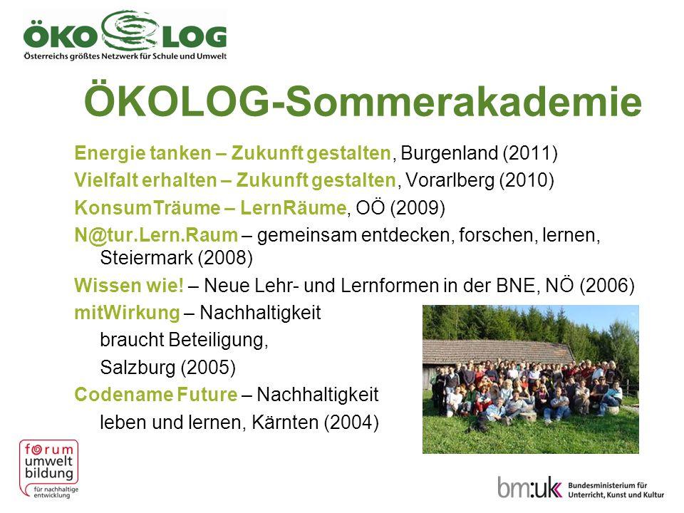 ÖKOLOG-Sommerakademie Energie tanken – Zukunft gestalten, Burgenland (2011) Vielfalt erhalten – Zukunft gestalten, Vorarlberg (2010) KonsumTräume – Le