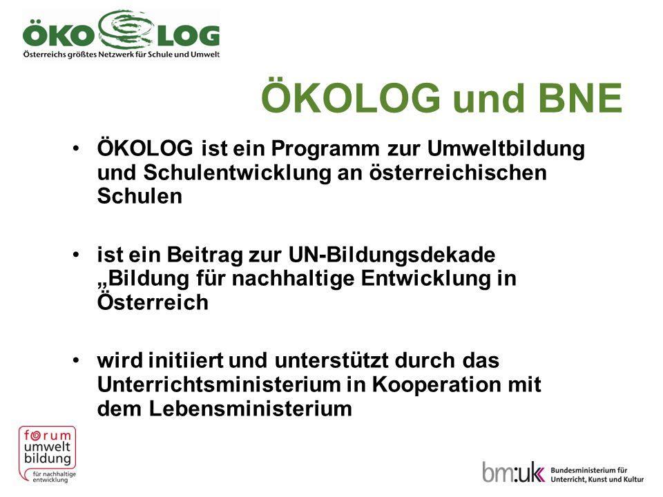 """ÖKOLOG und BNE ÖKOLOG ist ein Programm zur Umweltbildung und Schulentwicklung an österreichischen Schulen ist ein Beitrag zur UN-Bildungsdekade """"Bildu"""