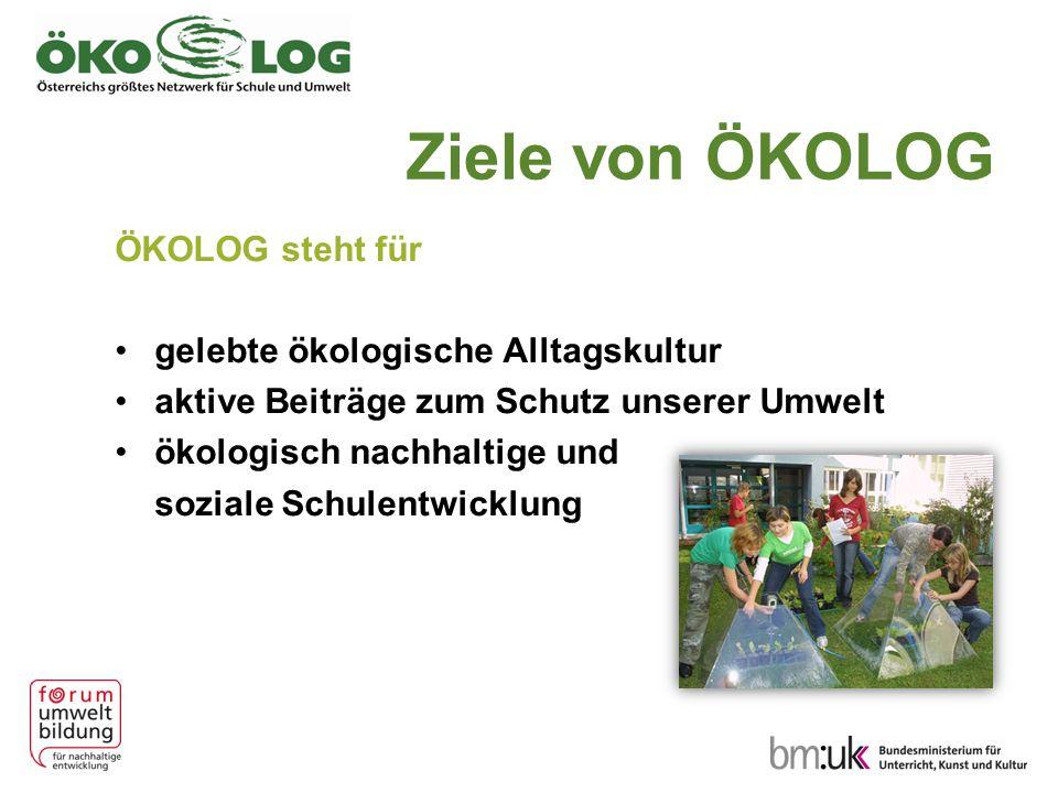 Ziele von ÖKOLOG ÖKOLOG steht für gelebte ökologische Alltagskultur aktive Beiträge zum Schutz unserer Umwelt ökologisch nachhaltige und soziale Schul