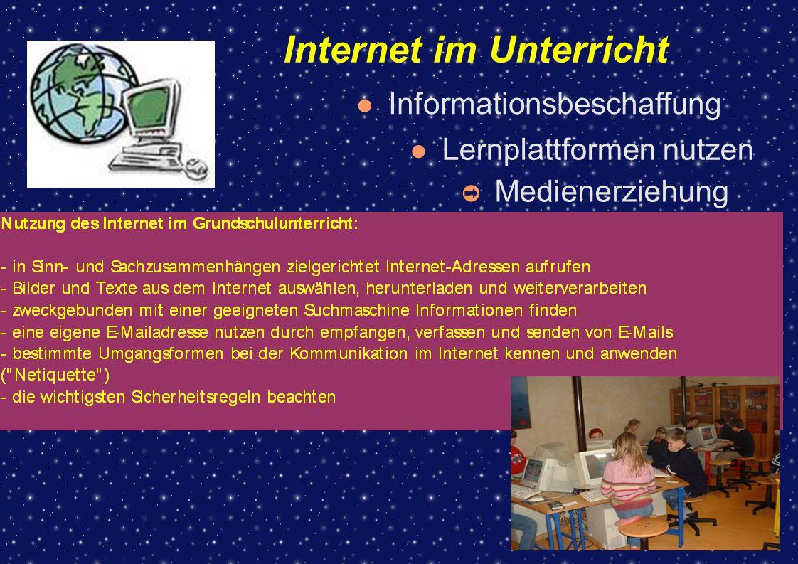 Internet im Unterricht ➲ Medienerziehung Informationsbeschaffung Lernplattformen nutzen