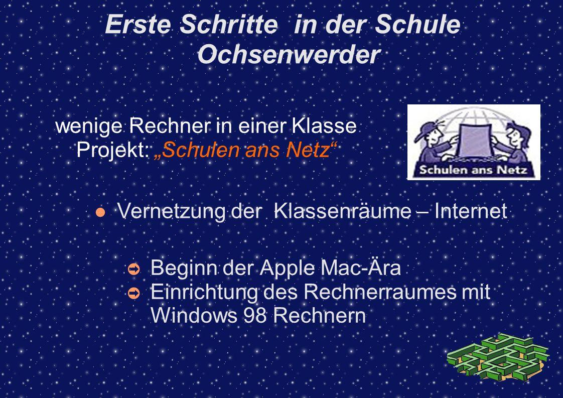 Erste Schritte in der Schule Ochsenwerder ➲ Beginn der Apple Mac-Ära ➲ Einrichtung des Rechnerraumes mit Windows 98 Rechnern wenige Rechner in einer K