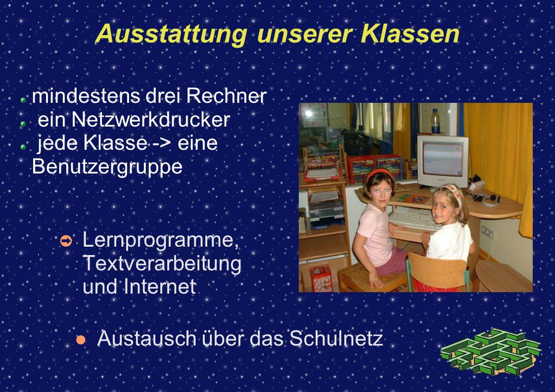 Ausstattung unserer Klassen ➲ Lernprogramme, Textverarbeitung und Internet mindestens drei Rechner ein Netzwerkdrucker jede Klasse -> eine Benutzergru