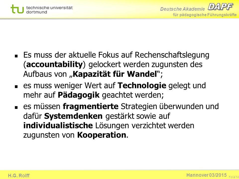 Deutsche Akademie für pädagogische Führungskräfte H.G. Rolff Folie 14 Hannover 03/2015 Es muss der aktuelle Fokus auf Rechenschaftslegung (accountabil