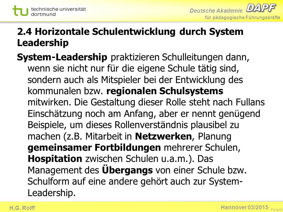 Deutsche Akademie für pädagogische Führungskräfte H.G. Rolff Folie 20 Hannover 03/2015 2.4 Horizontale Schulentwicklung durch System Leadership System