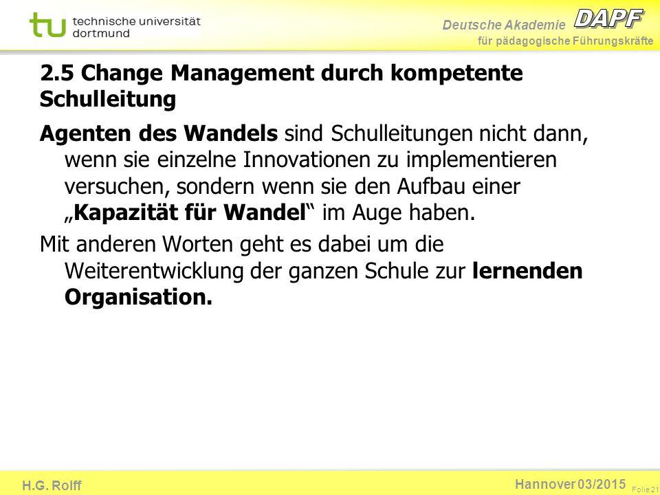 Deutsche Akademie für pädagogische Führungskräfte H.G. Rolff Folie 21 Hannover 03/2015 2.5 Change Management durch kompetente Schulleitung Agenten des