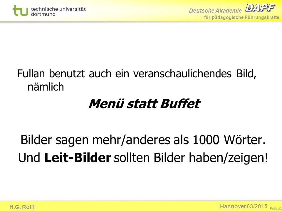 Deutsche Akademie für pädagogische Führungskräfte H.G. Rolff Folie 23 Hannover 03/2015 Fullan benutzt auch ein veranschaulichendes Bild, nämlich Menü