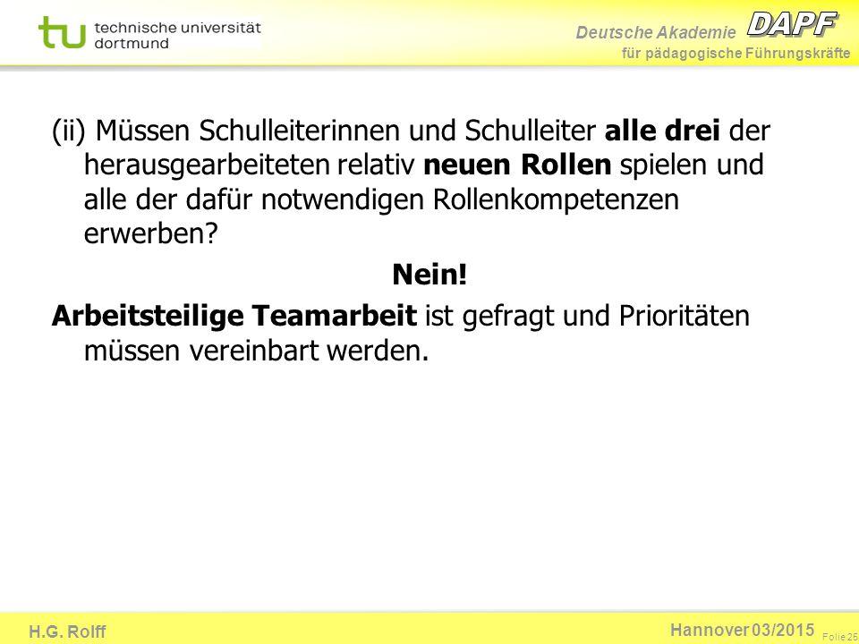 Deutsche Akademie für pädagogische Führungskräfte H.G. Rolff Folie 25 Hannover 03/2015 (ii) Müssen Schulleiterinnen und Schulleiter alle drei der hera