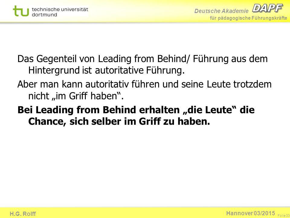 Deutsche Akademie für pädagogische Führungskräfte H.G. Rolff Folie 33 Hannover 03/2015 Das Gegenteil von Leading from Behind/ Führung aus dem Hintergr