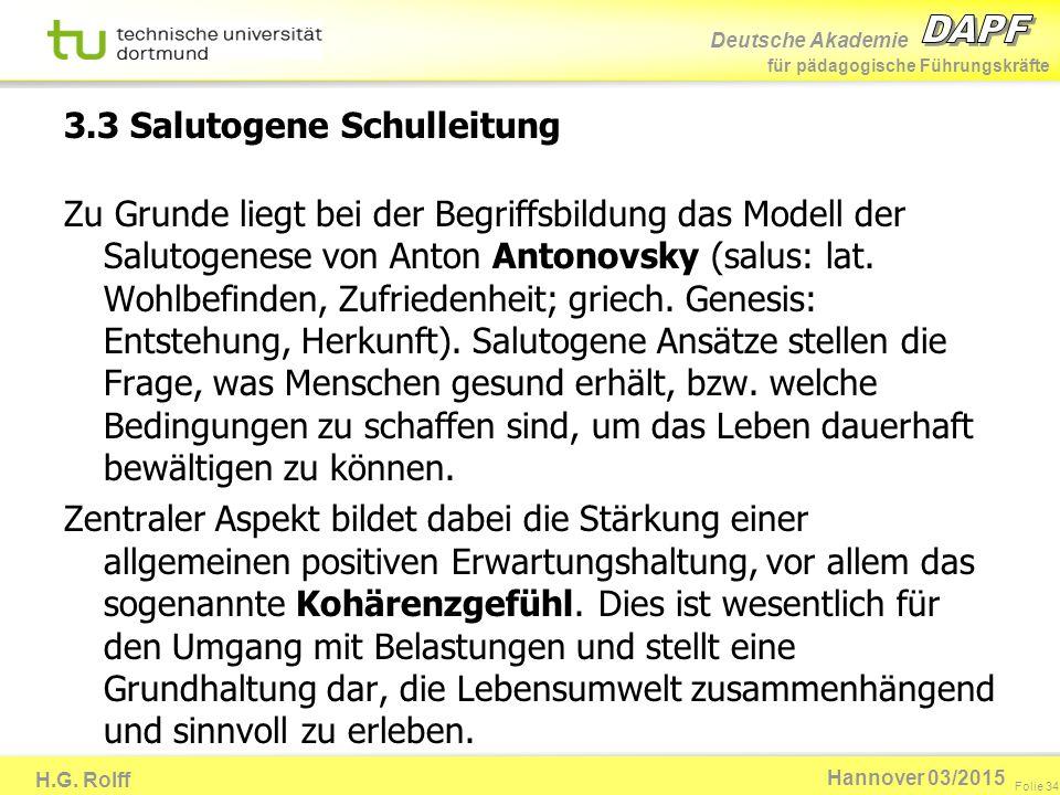 Deutsche Akademie für pädagogische Führungskräfte H.G. Rolff Folie 34 Hannover 03/2015 Zu Grunde liegt bei der Begriffsbildung das Modell der Salutoge