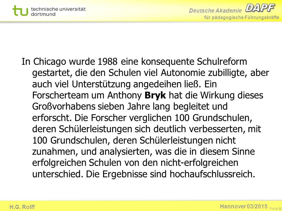 Deutsche Akademie für pädagogische Führungskräfte H.G. Rolff Folie 36 Hannover 03/2015 4. Leitbild: Kuchenbäcker? L e i t - B i l d e r s o l l t e n
