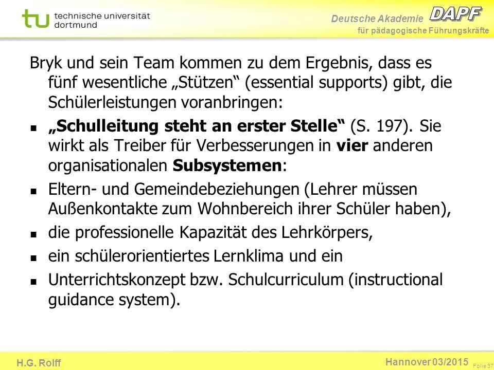 Deutsche Akademie für pädagogische Führungskräfte H.G. Rolff Folie 37 Hannover 03/2015 Bryk und sein Team kommen zu dem Ergebnis, dass es fünf wesentl