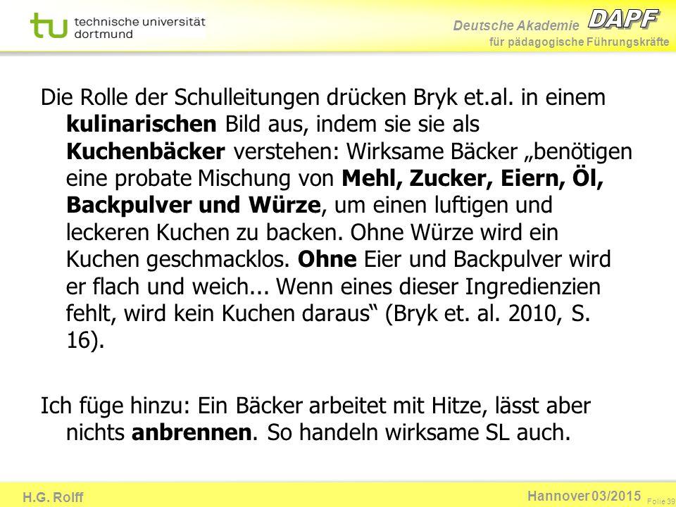 Deutsche Akademie für pädagogische Führungskräfte H.G. Rolff Folie 39 Hannover 03/2015 Die Rolle der Schulleitungen drücken Bryk et.al. in einem kulin
