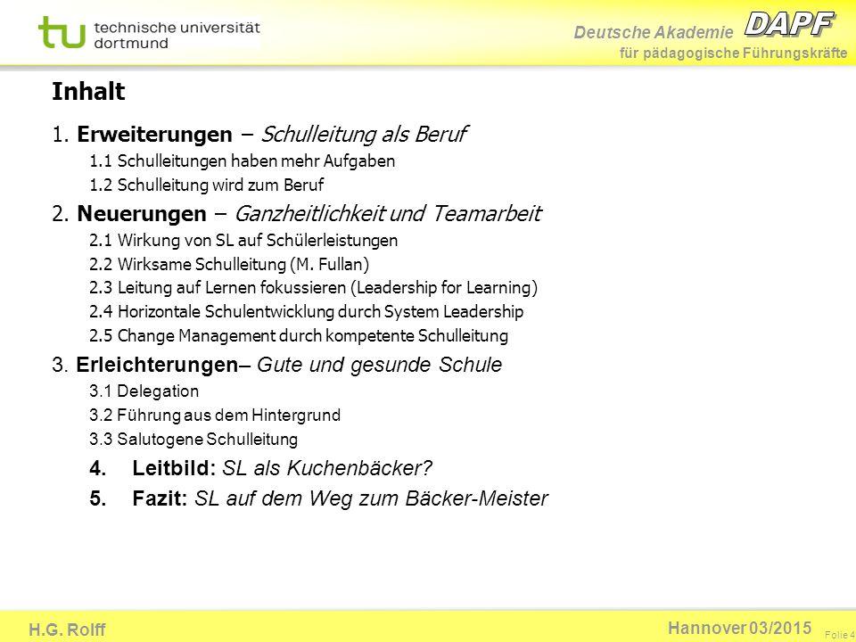 Deutsche Akademie für pädagogische Führungskräfte H.G. Rolff Folie 4 Hannover 03/2015 Inhalt 1. Erweiterungen – Schulleitung als Beruf 1.1 Schulleitun