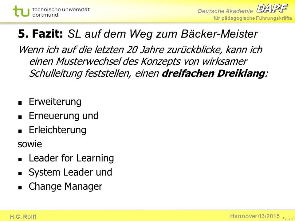 Deutsche Akademie für pädagogische Führungskräfte H.G. Rolff Folie 41 Hannover 03/2015 5. Fazit: SL auf dem Weg zum Bäcker-Meister Wenn ich auf die le