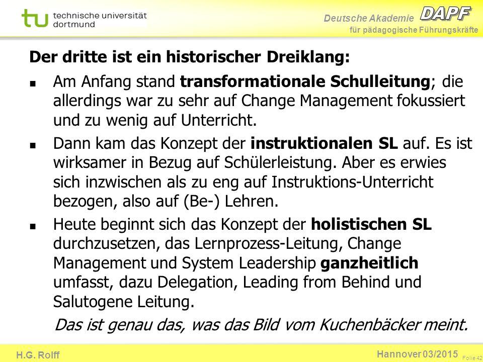 Deutsche Akademie für pädagogische Führungskräfte H.G. Rolff Folie 42 Hannover 03/2015 Der dritte ist ein historischer Dreiklang: Am Anfang stand tran