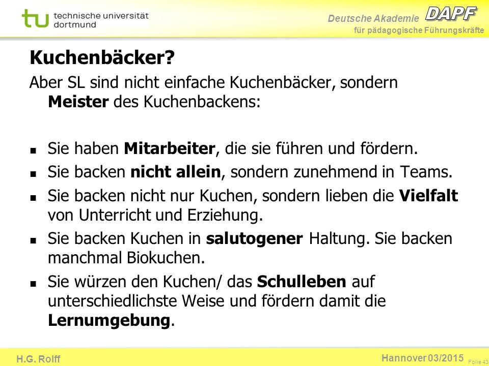 Deutsche Akademie für pädagogische Führungskräfte H.G. Rolff Folie 43 Hannover 03/2015 Kuchenbäcker? Aber SL sind nicht einfache Kuchenbäcker, sondern