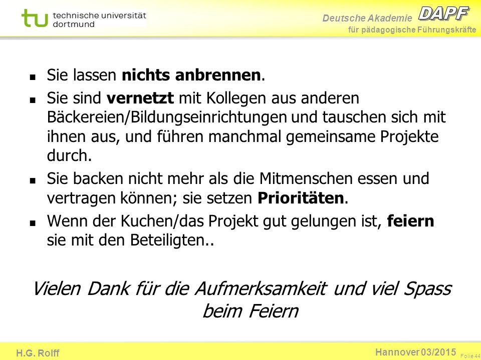 Deutsche Akademie für pädagogische Führungskräfte H.G. Rolff Folie 44 Hannover 03/2015 Sie lassen nichts anbrennen. Sie sind vernetzt mit Kollegen aus