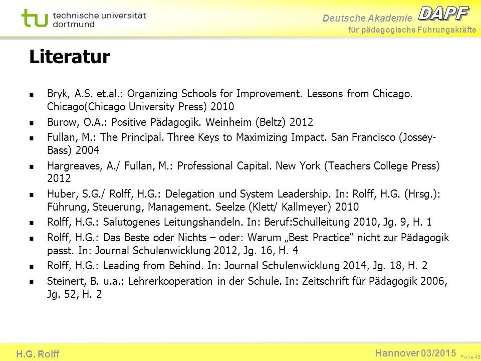 Deutsche Akademie für pädagogische Führungskräfte H.G. Rolff Folie 45 Hannover 03/2015 Literatur Bryk, A.S. et.al.: Organizing Schools for Improvement