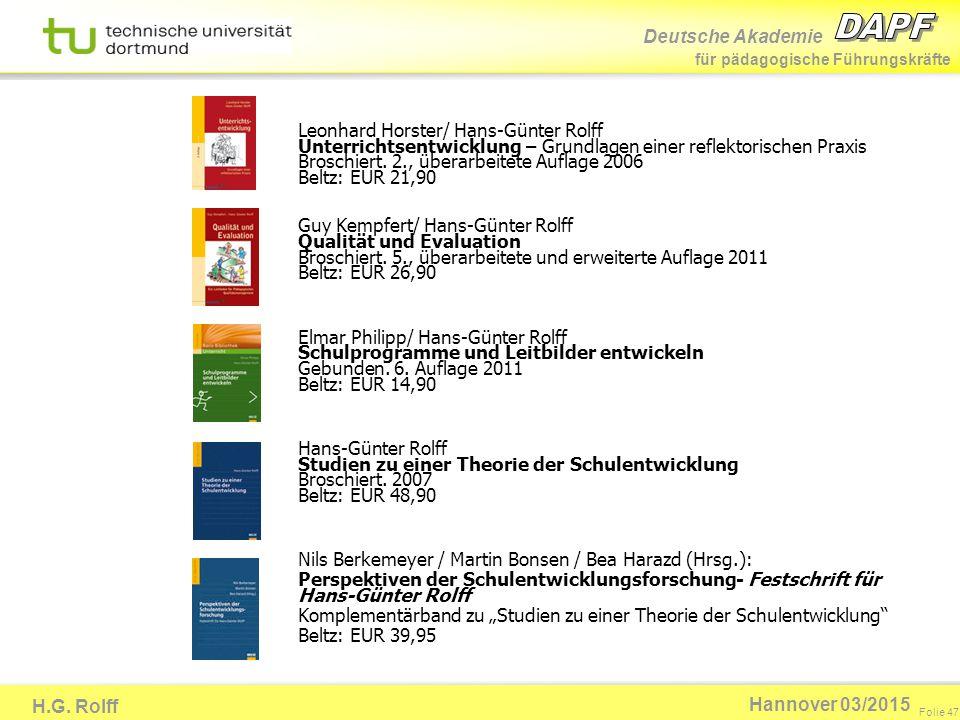 Deutsche Akademie für pädagogische Führungskräfte H.G. Rolff Folie 47 Hannover 03/2015 Leonhard Horster/ Hans-Günter Rolff Unterrichtsentwicklung – Gr