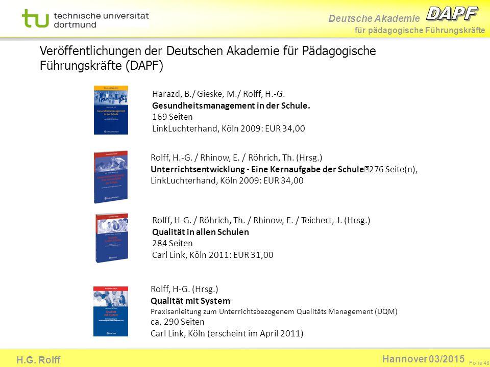 Deutsche Akademie für pädagogische Führungskräfte H.G. Rolff Folie 48 Hannover 03/2015 Harazd, B./ Gieske, M./ Rolff, H.-G. Gesundheitsmanagement in d