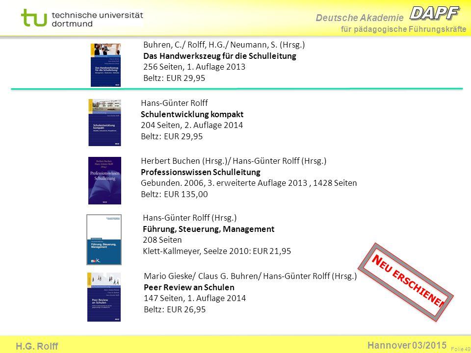 Deutsche Akademie für pädagogische Führungskräfte H.G. Rolff Folie 49 Hannover 03/2015 Herbert Buchen (Hrsg.)/ Hans-Günter Rolff (Hrsg.) Professionswi