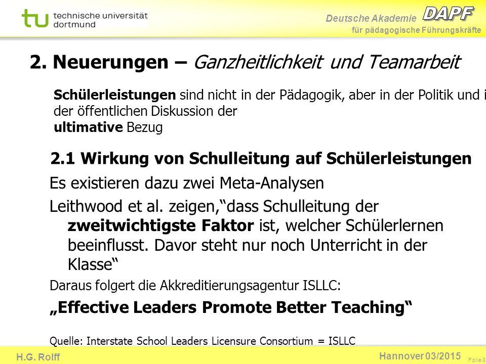 Deutsche Akademie für pädagogische Führungskräfte H.G. Rolff Folie 8 Hannover 03/2015 2. Neuerungen – Ganzheitlichkeit und Teamarbeit 2.1 Wirkung von
